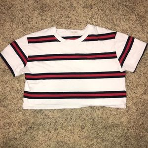 Red Black and White Stripped Crop Top